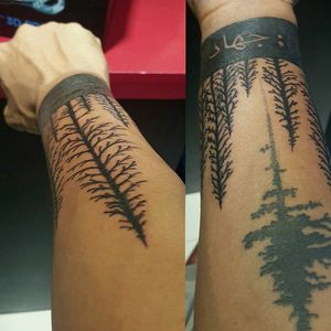 This is my latest tattoo, but it isn't complete. The Trees signifies my love for camping and nature The Arabic word actually means Jihad (Over coming Obstacles) This is to remind me of things I have over come and to over come anything in my way. #Semicolon is for the #SemicolonProject