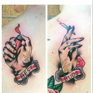 His and hers tattoos. #weed #marijuana #potleaf #hisandhers #matching #matchingtattoos #hands #smoking