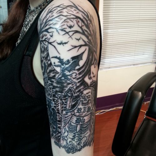 Cemetery scene tattoo by Al from Wild World Ink