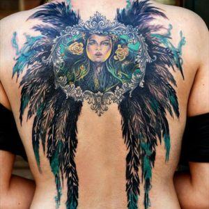 My wife back piece Model: Rakas Tattoo Artist: Nuno Feio #backpiece #tattoomodel #wings #color #mothernature #green