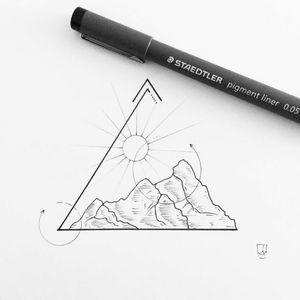 #drawing #triangle #geometric #mountains #sun #geometry #style #masterpiece
