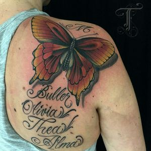 Butterfly and letters done by Taioba  #royal #royaltattoo #royaltattoodk #royalink #royaltattoodenmark #helsingørtattoo #ElsinoreInk #tatoveringidanmark #tatoveringihelsingør #toptattoo #toptattooartist #butterflytattoo #lettering