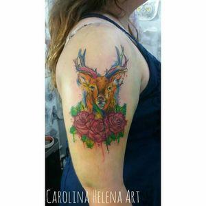 #deertattoo #watercolortattoo #rose #rosetattoo #colorful #aquilatattoo #carolinahelenaart