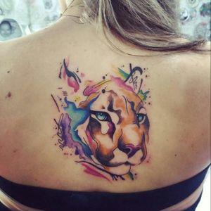 #lioness #watercolortattoo #animaltattoo #colorful #colorsplash #aquilatattoo #carolinahelenaart