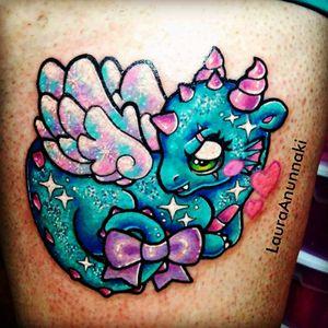 One of my favourite artist #LauraAnunnaki I loveeeeee 🐉🎀 #kawaii #brightcolours #cutecritter #cute #dragon #feminine