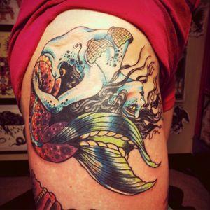 Double cover up backbend mermaid. #mermaidtattoo #mermaid #skull #coverup done by #JonLarson