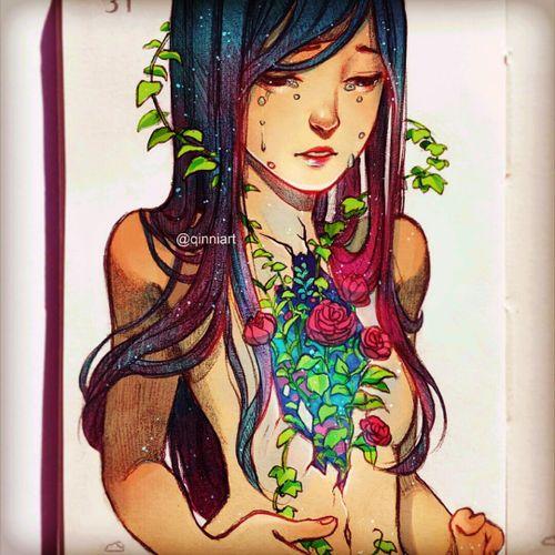 One of my fave artist. Qinni, on Facebook & IG. I love the sketches. #Qinni #femininetattoo #beauty #uniquestyle #creativetattoos #brightcolours #tattsketches  #iwantsomethinglikethis