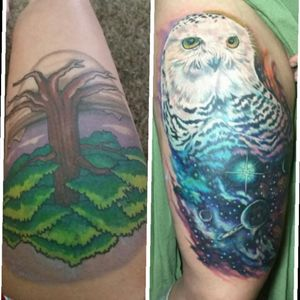 #epic#coverup#hedwig#snowowl#tree#galaxy#tattoo#cover#large#fullcolor#white#owl#whiteink