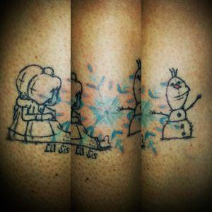 For my sister. #tattoo #ink #tattoopavia #tattoomilano #family #support #frozen #Olaf #annaandelsa #meandyou #disney #disneytattoo #disneysistertattoo #disneysketch #sisterhood #sistertattoo #snowflake #snowflaketattoo