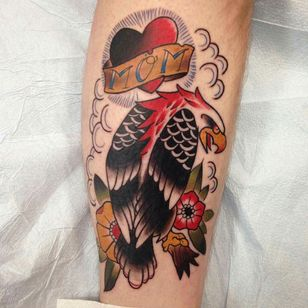Neo traditional eagle with a tribute mom heart