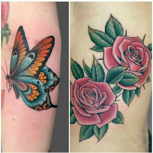 Roses and butterfly by Stef Bastiàn  For info or bookings pls contact us at art@royaltattoo.com or call us at +45 49202770 #royal #royaltattoo #royaltattoodk #royalink #royaltattoodenmark #helsingørtattoo #ElsinoreInk #tatoveringidanmark #tatoveringihelsingør #toptattoo #toptattooartist #butterflytattoo  #butterfly #rosetattoo