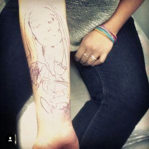 Stencil on! #stencil #tattoo #colombiantattooers #MorticiaAddams #MorticiaAddamstattoo #SebastianVinasco