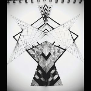 I saw a photo the other day, it was a mirror image of a corridor (I think) I looked at it and thought 'I see a tattoo there' and here it is. Like a geometrical angel!! #tattoodesign #tattoo #geometrictattoo #pattern #symmetry #art #design #blackwork #linework #dotwork #pointalism #insomnia