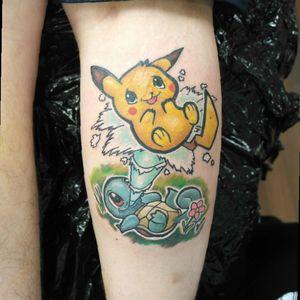 #pokemon #pokemontattoo #anime #cartoon #pikachu #squirtle #cute #cutetattoo #colour #newschool #newschooltattoo #colourtattoo #chrismorristattoos