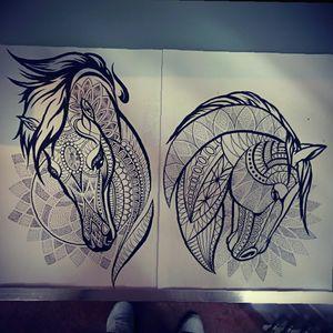 Drawings i made #lines #dotwork #horses #tattooidea #mandala