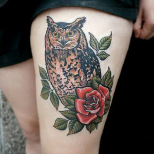 #owl #rose #bird #colour #colourtattoo #neotrad #neotraditional #chrismorristattoos