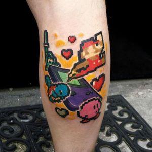 #Nintendo #GameBoy #n64 #pokemon #link #legendofzelda #heart #colour #colourtattoo #newschool #newschooltattoo #chrismorristattoos