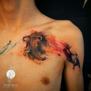 - lion heart. #felipecesar #watercolor #watercolortattoo #abstract #liontattoo #lion #aquarela #tatuagemaquarela #tatuagembrasil #brazil