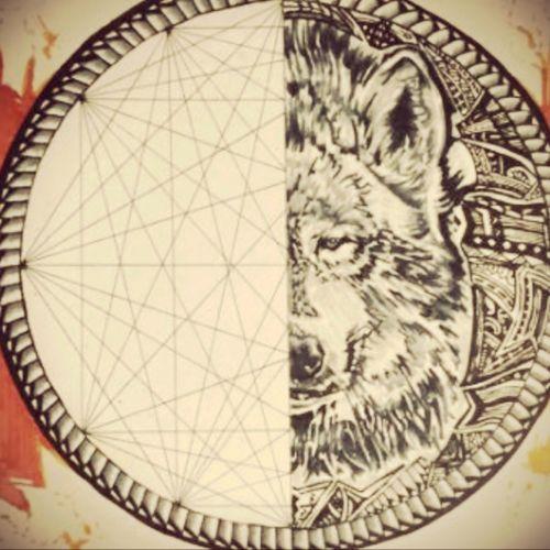 Warrior's symbol #tattoodesign #tazzcreations #wolf #sacredgeometry #samoan #chest #arm #animals #stare #fierce