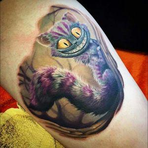 Another one I love/want #cat #cheshirecat #cheshirecattattoo #aliceinwonderland #color