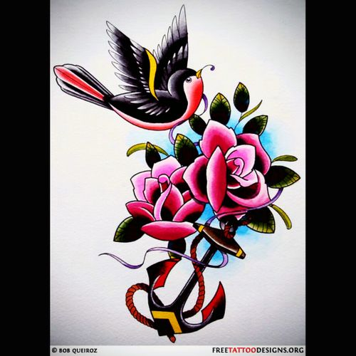 #traditional #bird #anchor #flower