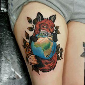 #fox #foxtattoo #globe #rose #rosetattoo #neotraditional #neotrad #neotradtattoo #colour #colourtattoo #chrismorristattoos