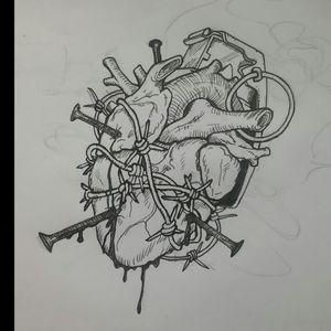 Wannabe a tattoo artist.. #heart #granade #nails #blackwork #sketch