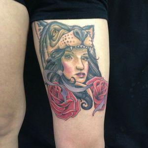 First tattoo. Cannot wait for more! #firsttattoo #wolfheadress #chicagotattoo