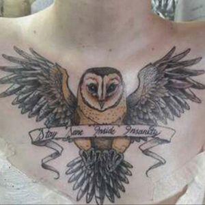 My biggest one by Jonathan Arce, Bushido RG. Tierra del fuego, Argentina #owl #bird #quote #rockyhorror #lyrics #wings #chest #tattoo #jonathanarce #bushidorg