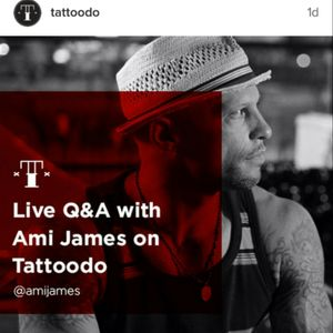 Para quem está no Brasil: hoje às 17h tem live com o @amijames no @tattoodo ! #brasil #tattoodo #TeamTT