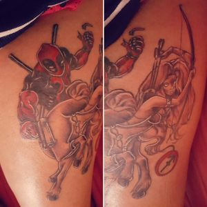 #Deadpool and #LadyDeath as a centaur to incorporate my #starsign Deadpool also has a personal meaning to me as well as the fact he's my favourite #Marvel character. #Sagittarius
