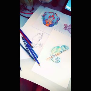 First sketches. I am trying drawing :) #sketch #watercolor #aquarela #aquarell #chamaleo #cameleon #cate #shell