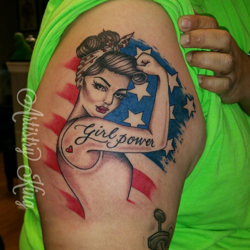 Pin up tattoo. Artistry King Tattoo, Vancouver WA #girl #TattooGirl #pinupgirl #pinuptattoo #pinup #color #colortattoos