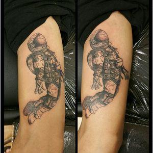 Astronaut tattoo. Artistry King Tattoo, Vancouver WA #astronaut #astronauttattoos #blackandgreytattoo