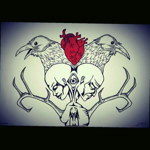 Sketch I made for my neck tattoo #raven #tradtional #heart #crow #hearttattoo