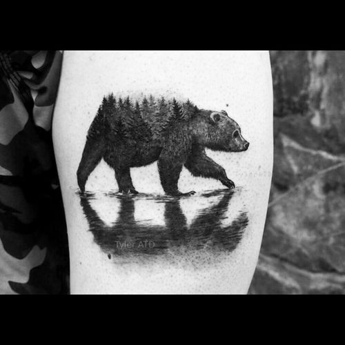 Black & grey grizzle bear, trees tattoo #dreamtattoo #mydreamtattoo