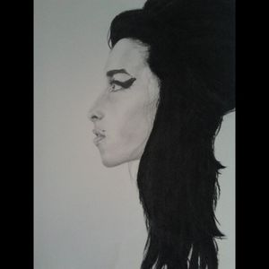 Amy Winehouse, charcoal & graphite