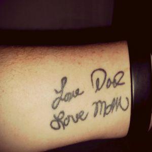 #birthdaygift #lovemom #lovedad #theirhandwriting Thus is my gift to myself couple yrs ago.