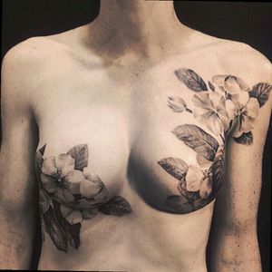 Beautiful mastectomy tattoo. #masectomy #flowers #breasttattoo