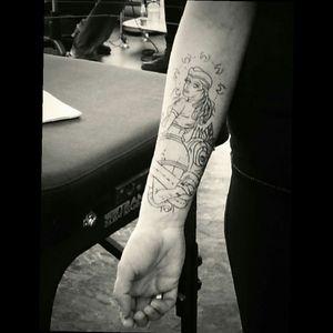 Trying it on Artist Brian Joubert @ Narrow Waters Tattoo in Kelowna BC