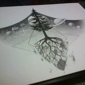 Beautiful! #universe #tree #geometric #universe #underboobtattoo
