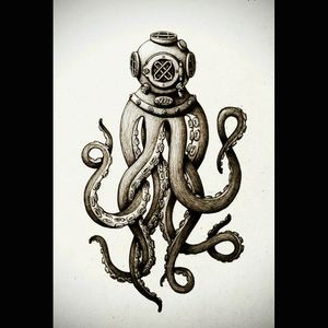 For the things that help us breathe when we feel like we're drowning. #dreamtattoo #nautical #octopus #diver