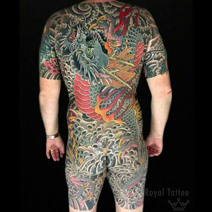 Christian's dragon back by @henningjorgensen  For info or bookings pls contact us at art@royaltattoo.com or call us at + 45 49202770 #royal #royaltattoo #royaltattoodk #royalink #royaltattoodenmark #henningjørgensen #thedane #thegreatdane #dragon #drage #dragontattoo #japanesetattoo #japanese #backpiece
