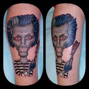 I just finished up my original Sweeney Todd tattoo last night! Yay!