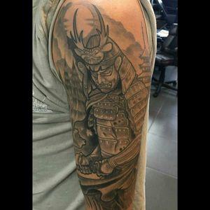 Samurai half sleeve by David Cardona #samurai#japanese#blackandgrey
