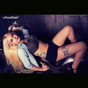 #tattoedgirl #motorcycle #motorgirl #blondie