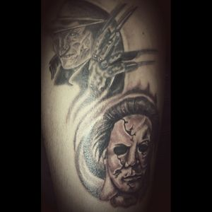 #blackandgrey #horrortattoo #FreddyKrueger #michaelmyers #photorealism #portraittattoos
