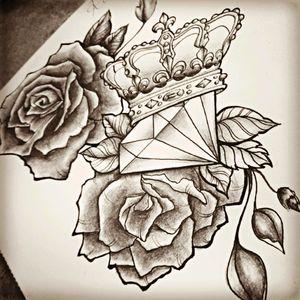 #diamond #rose #crown #drawing