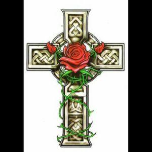 Any one got any ideas that i could add to this i was thinking maby black and gray any ideas considered its for a tattoo in memory of my dad #cross #roses #ideas #blackandgrey #blackAndWhite #colour #ireland #tattoo #amijames #ChrisGarver #backpiece #blackwork #tatoodo #tattooartist #lovehatelondon #lovehatecork #allstarink #calftattoos