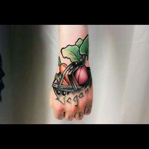 Vegan theme tattoo by Mariusz Kaczmarek #tattoo #veganink  #handtattoo #vegantattoo  #mariuszkaczmarek